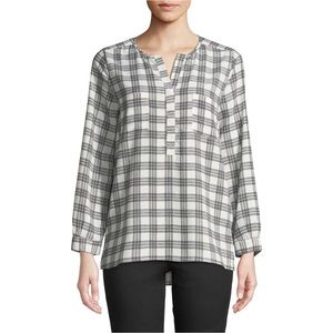 JOIE Nepal Checkered Plaid Blouse Top Shirt